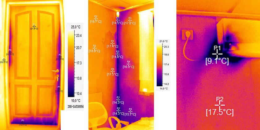 Термограми дверей кута кімнати кондиціонера