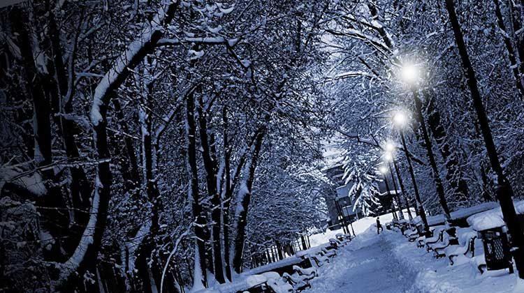 фото уличное освещение зимней ночью