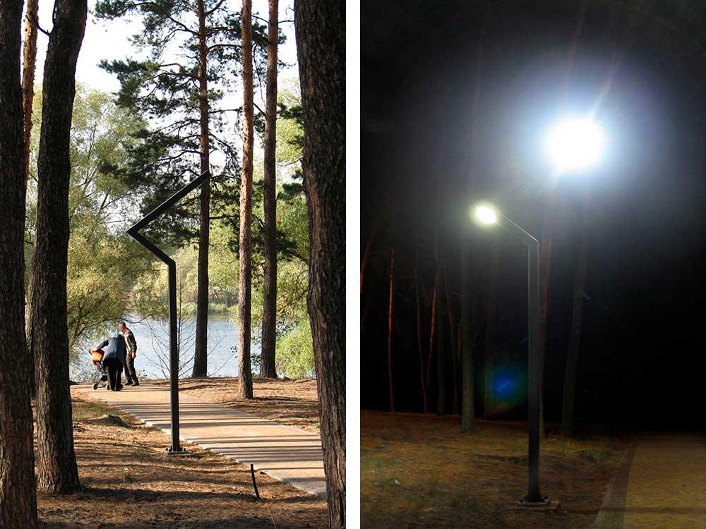 Опора паркового освітлення вдень і вночі